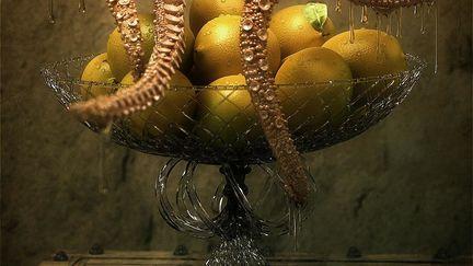 Monster near a basket of lemons
