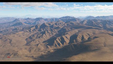 3D Desert Mountains Matte Painting