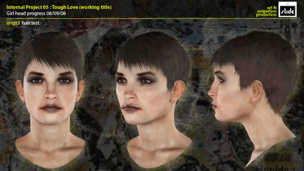female head render test for Tough Love illustration.