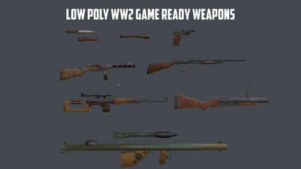WW2 Game Ready Weapons Set PBR textures for Unity 5 engine.