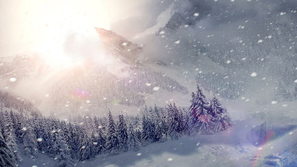 Winter mountains matte painting