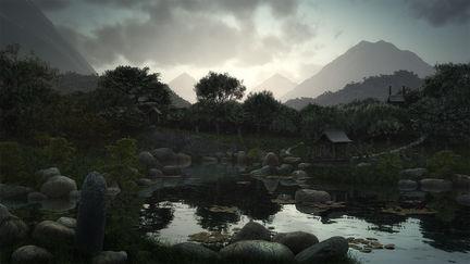 Gentle rain on the mountains