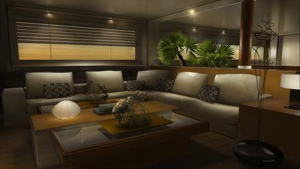 Yacht interior at sunset