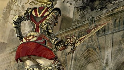 warior girl and shiny sword