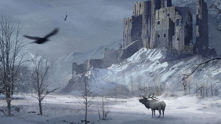 Castle in a snowy forest