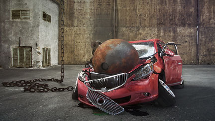 Wrecking Ball and car