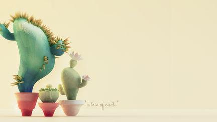 """a trio of cacti"""