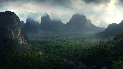 Forbidden Valley matte painting
