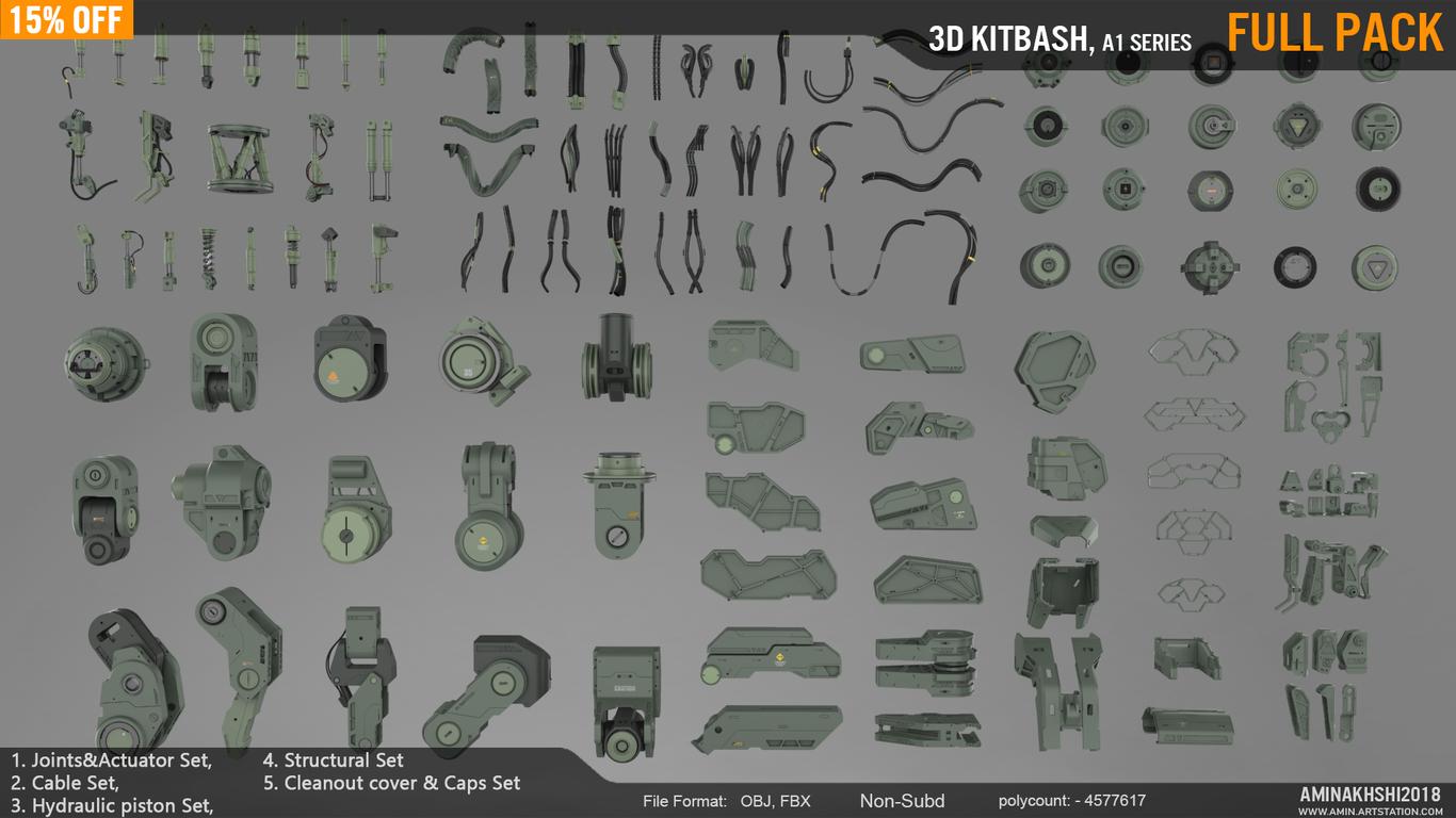 3D kitbash Sets, A1 series
