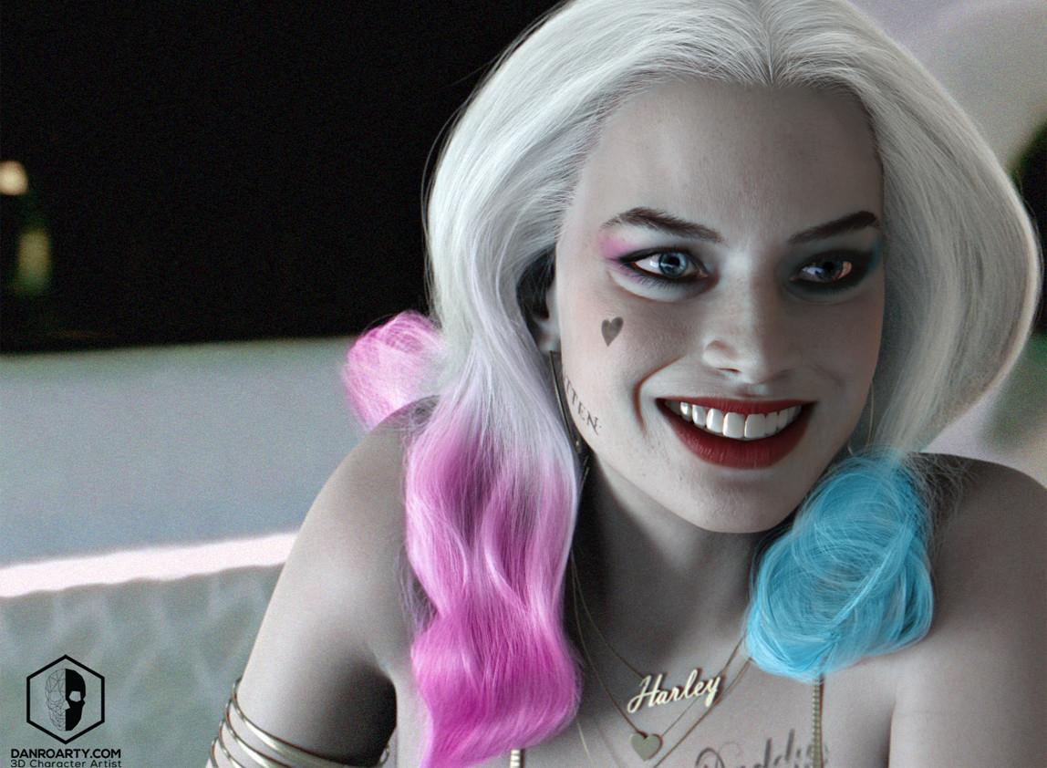 Harley Quinn Margot Robbie By Danroarty Portrait 3d Cgsociety