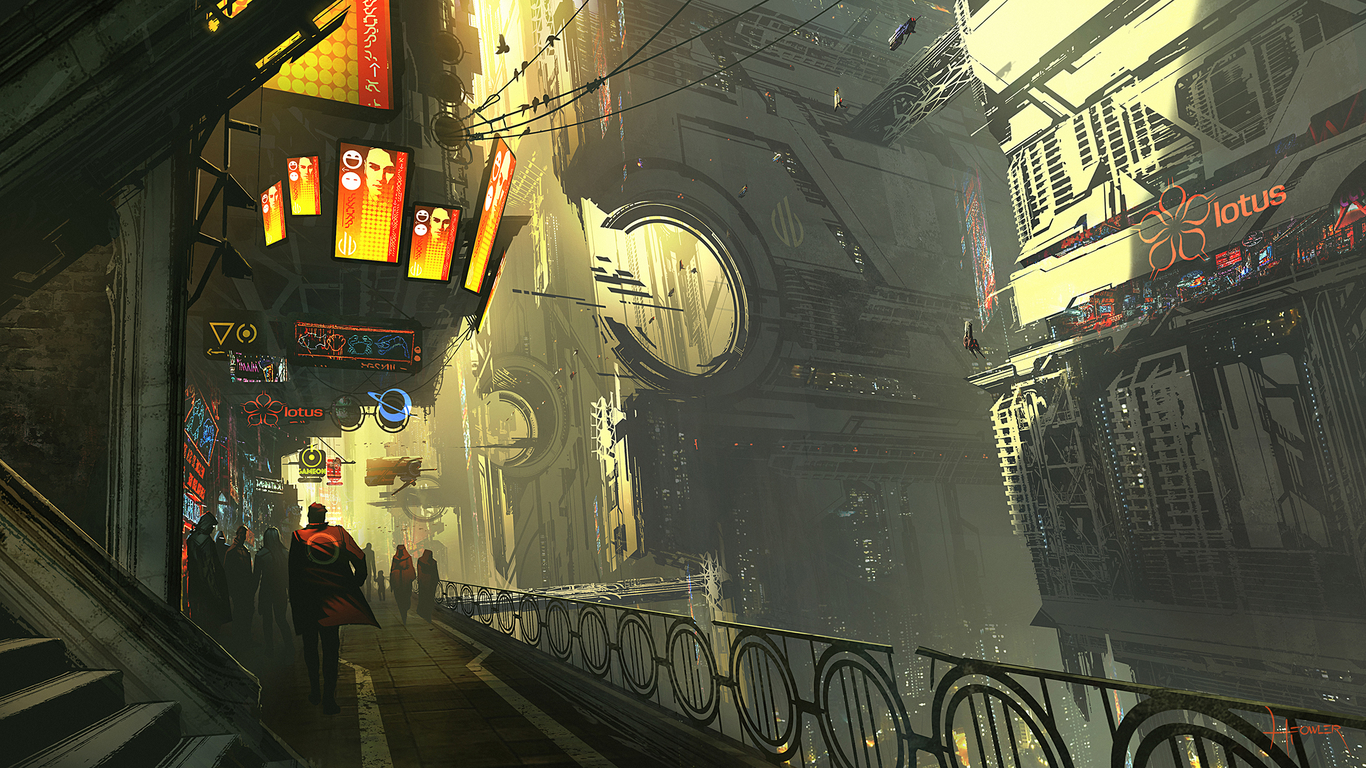 Cyberpunk City By Fowlerillus Architecture 2d Cgsociety