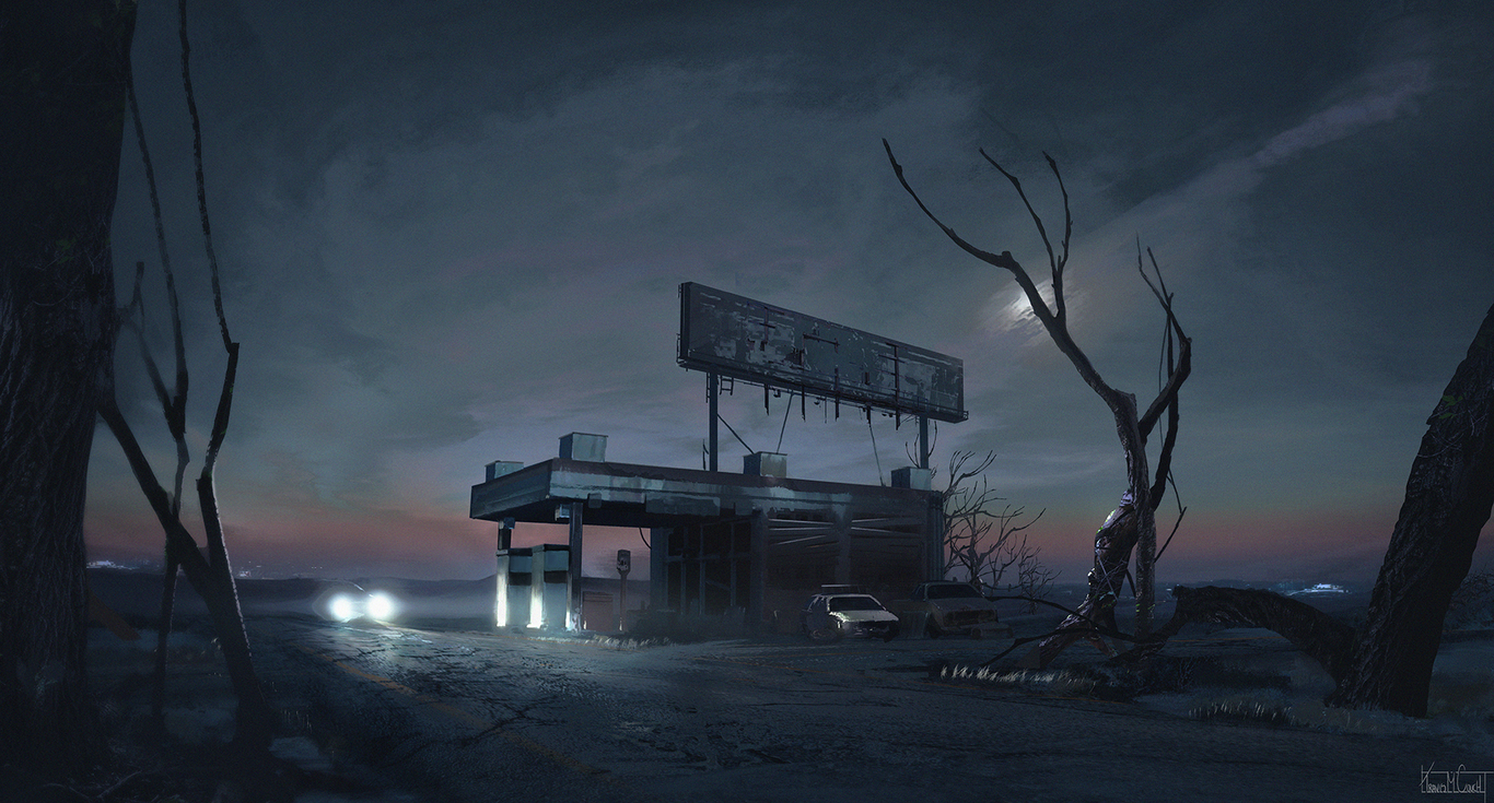 Old Gas Station By Goldcouch Concept Art 2d Cgsociety