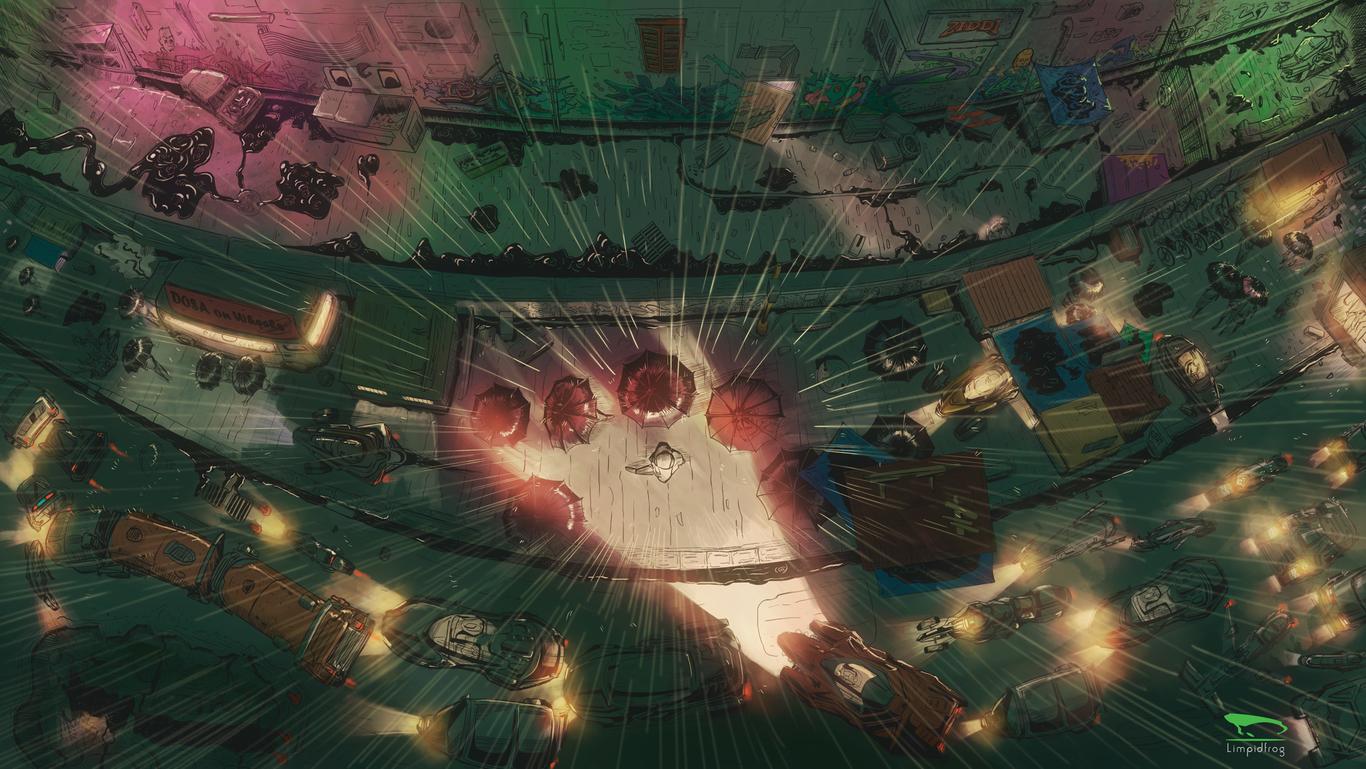 Rain city sketch by Limpidfrog | 2D | CGSociety
