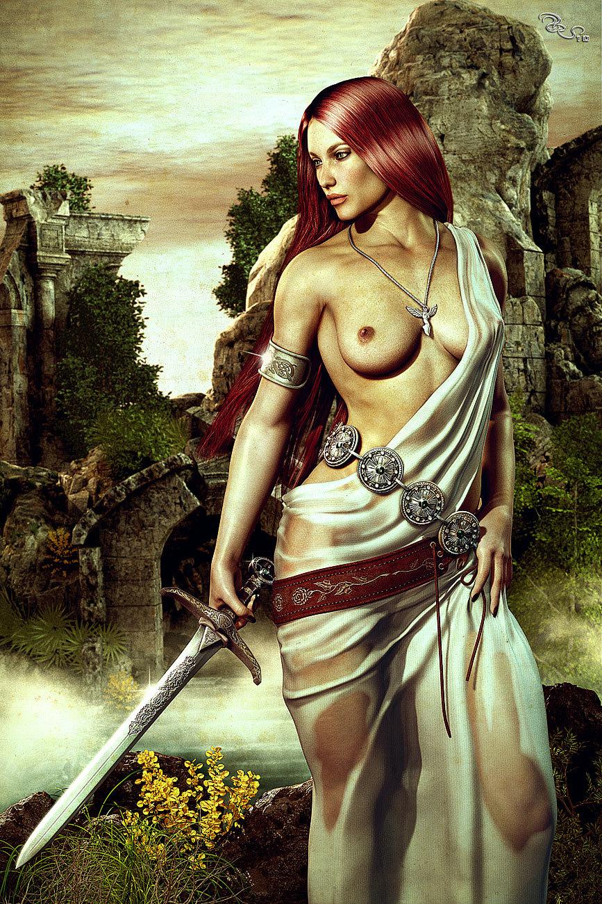 Free Sexy Nude Warrior Women Fantasy Art Wallpaper