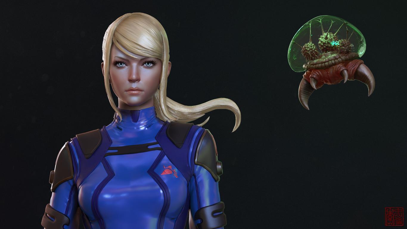 Samus Aran Zero Suit Metroid By Protomonkey Art 3d Cgsociety
