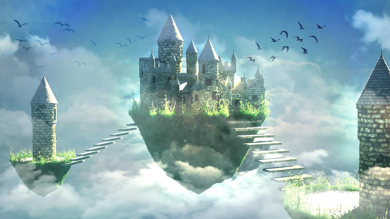 своей летучий замок картинки представляет собой коническую