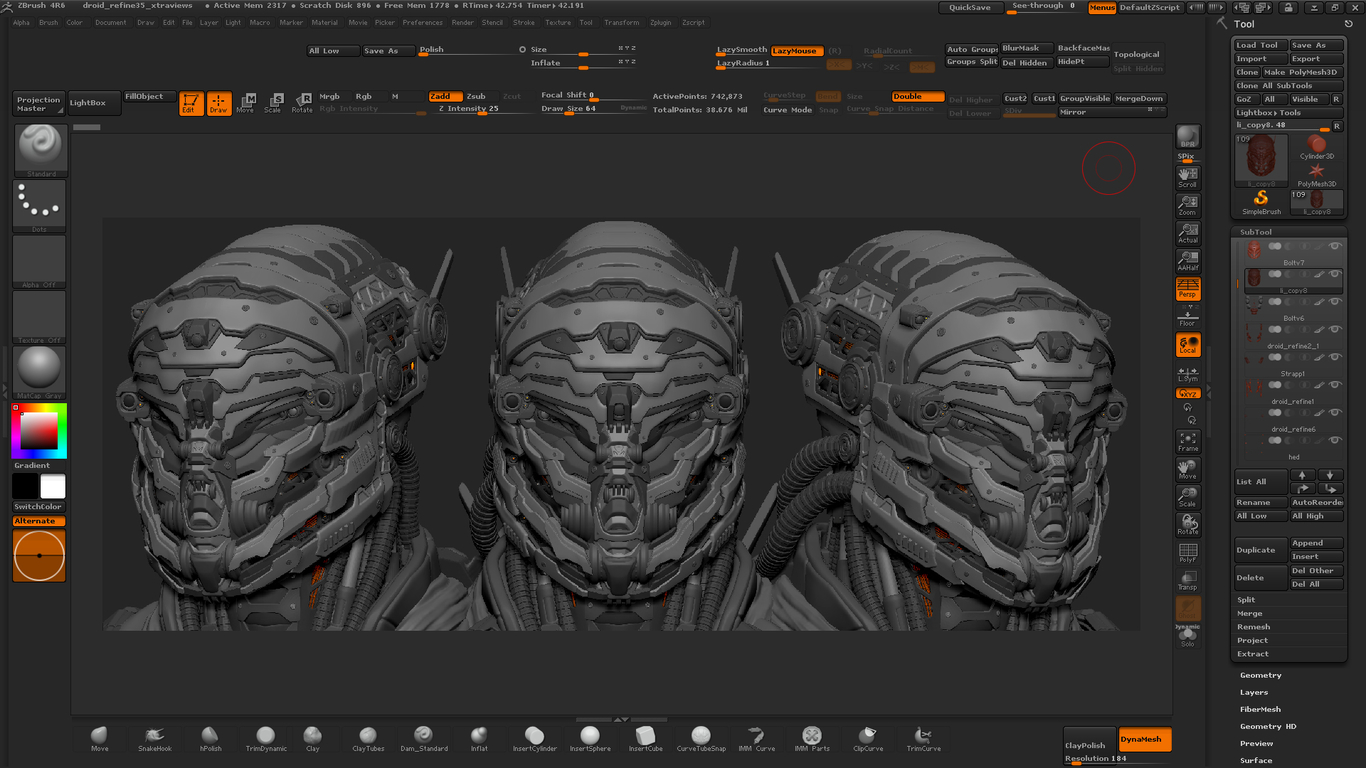 Droid zbrush wip