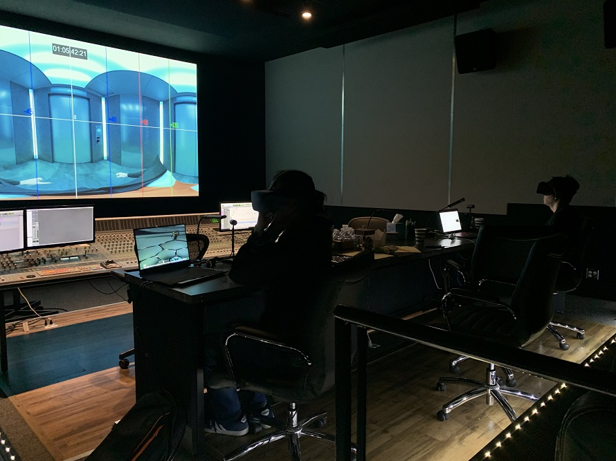 Behind the scenes image of Re-Recording Mixer Rusty Dunn and Composer Corey Wallace on VR Film AGENT EMERSON